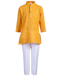 Babyhug Weaving Pattern Kurta With Pajama - Orange