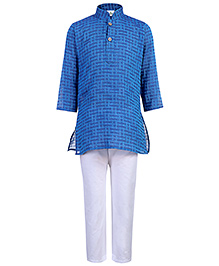 Babyhug Weaving Pattern Kurta With Pajama - Blue