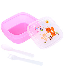 Lunch Box With Friend And Cat Print - Pink