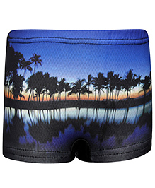 Bosky Swimwear Trunk Scenery Print - Black And Blue