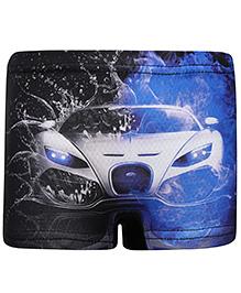 Bosky Swimwear Trunk Car Print - Black And Blue