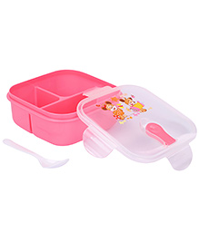 Lunch Box With Spoon Heart Print - Pink