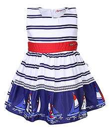 Peppermint Sleeveless Frock Stripes And Yacht Print - Blue