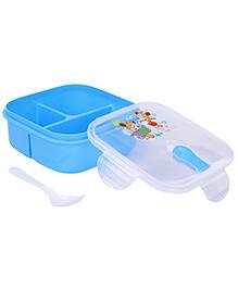 Lunch Box With Spoon Animal Cartoon Print - Blue