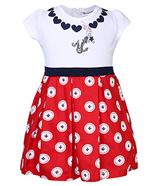 Peppermint Pleated Frock Buttons Print - Red And White