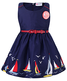 Peppermint Party Wear Sleeveless Frock With Belt And Badge Ship Print - Blue