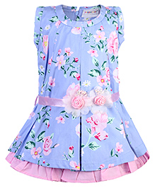 Peppermint Party Wear Sleeveless Frock Floral Print - Blue