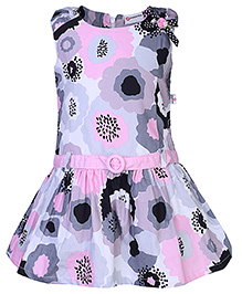 Peppermint Drop Waist Pattern Frock Floral Print - Pink And Grey