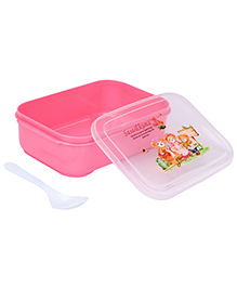 Lunch Box With Spoon Teddy Print - Pink