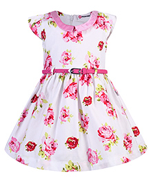 Peppermint Party Wear Short Sleeves Frock With Belt Floral Print - White Base