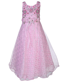 Kittens Sleeveless Party Gown Sequins And Bead Embroidery - Pink