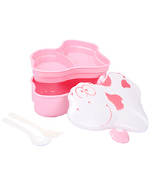 Cow Shaped Lunch Box With Spoon And Fork - Pink And White