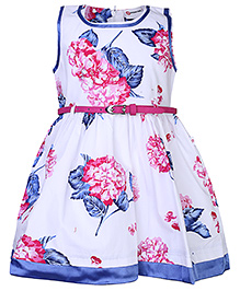 Peppermint Sleeveless Frock With Belt Floral Print - White And Pink
