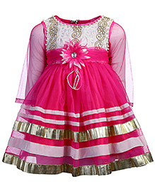 Kittens Party Frock Net Detailing Floral Applique - Dark Pink