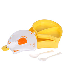 Lunch Box With Spoon And Fork Rat Shaped - Yellow