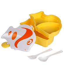 Fish Shaped Lunch Box With Spoon And Fork - Yellow Orange And White