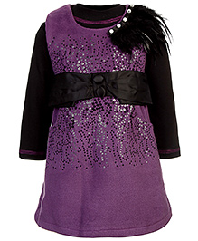 Kittens Party Frock Front Sequin And Fur Motif - Light Wine
