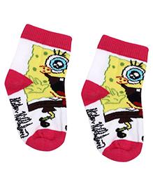 Spongebob Cartoon Print Socks - White And Pink