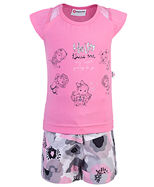 Peppermint Cap Sleeves Top And Shorts Text Print - Pink