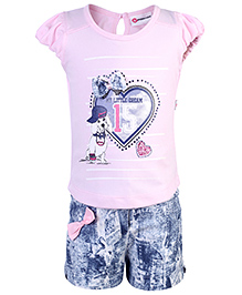 Peppermint Short Sleeves Top And Shorts Bow Applique - Pink