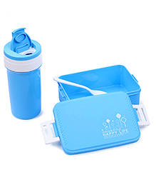 Lunch Box Sipper Water Bottle And Spoon Set 500 Ml - Blue