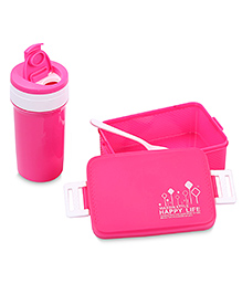 Lunch Box Sipper Water Bottle And Spoon Set 500 Ml - Pink