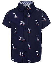 Nauti Nati Half Sleeves Ship Print - Navy Blue