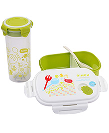 Lunch Box Water Bottle And Spoon Set 550 Ml - White And Green