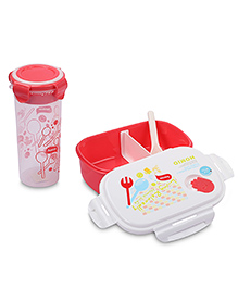 Lunch Box Water Bottle And Spoon Set 550 Ml - White And Pink