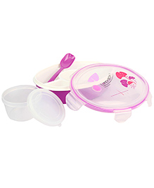 Lunch Box With Spoon Oval Shape - Purple