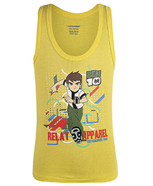 Cucumber Sleeveless Vest Ben 10 Print - Yellow