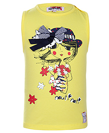 Nauti Nati Sleeveless Top Bow Applique - Yellow