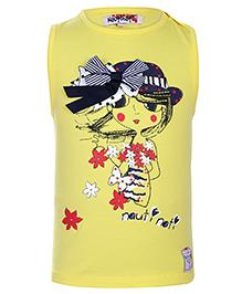Nauti Nati Sleeveless Top Bow Applique - Yellow