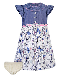 Nauti Nati Short Sleeves Frock With Bloomer Butterfly Print - Blue And White