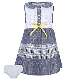 Nauti Nati Sleeveless Tiered Dress With Bloomer - Grey And White