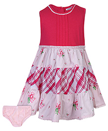 Nauti Nati Sleeveless Frock With Bloomer Floral Print - Pink And White