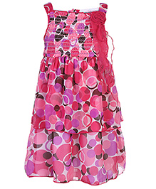 Nauti Nati Layered Chiffon Dress Big Polka Dots Print - Pink