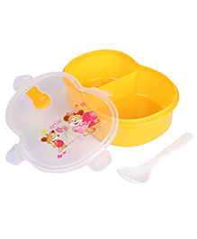 Lunch Box With Spoon Animal Cartoon And Floral Print - Yellow