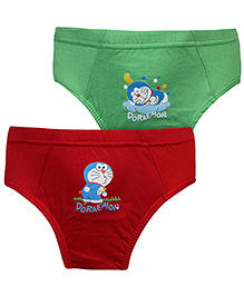 Cucumber Briefs Doraemon Print Set Of 2 - Green And Red