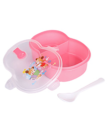 Lunch Box With Spoon Animal Cartoon Print - Pink