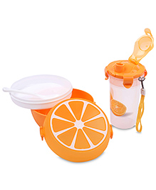 Lunch Box Water Bottle And Spoon Set Fruit Print - Orange