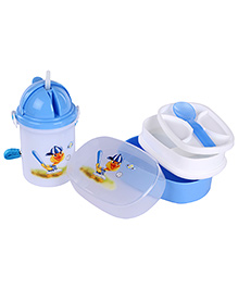 Lunch Box Sipper Water Bottle And Spoon Set - Blue