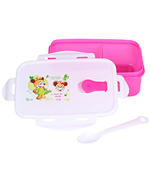 Lunch Box With Spoon Smile Print - Pink
