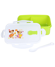 Lunch Box With Spoon Teddy Print - Green