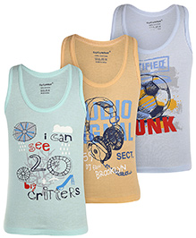 Cucumber Sleeveless Vests Set Of 3 - Sea Green Orange And Light Blue
