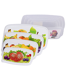 Lunch Box Fruit Print Set Of 4 - White