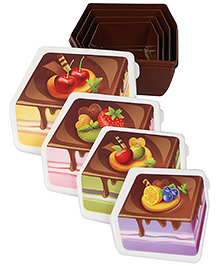 Lunch Box Ice Cake Print Set Of 4 - Coffee Brown