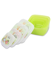 Square Shape Lunch Box Bobby Rabbit Print Set Of 4 - Green