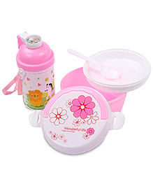 Lunch Box Water Bottle And Spoon Set Animal Print - Pink