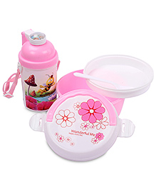 Lunch Box Water Bottle And Spoon Set Honeybee And Mushroom Print - Pink